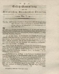 Gesetz-Sammlung für die Königlichen Preussischen Staaten, 22. April 1823, nr. 7.