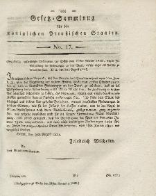 Gesetz-Sammlung für die Königlichen Preussischen Staaten, 27. November 1823, nr. 17.