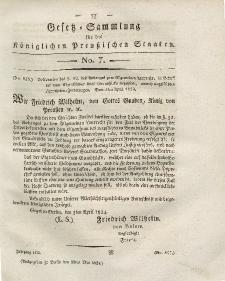 Gesetz-Sammlung für die Königlichen Preussischen Staaten, 11. Mai 1824, nr. 7.