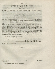 Gesetz-Sammlung für die Königlichen Preussischen Staaten, 2. April 1825, nr. 4.
