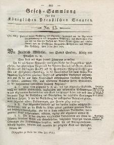 Gesetz-Sammlung für die Königlichen Preussischen Staaten, 13. Juli 1825, nr. 13.