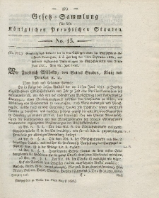 Gesetz-Sammlung für die Königlichen Preussischen Staaten, 18. August 1825, nr. 15.
