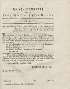 Gesetz-Sammlung für die Königlichen Preussischen Staaten, 27. November 1825, nr. 21.