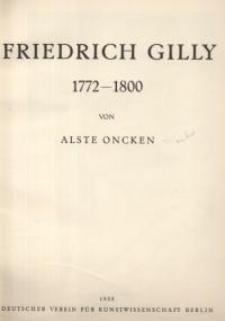 Friedrich Gilly 1772-1800