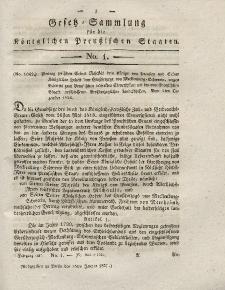 Gesetz-Sammlung für die Königlichen Preussischen Staaten, 16. Januar 1827, nr. 1.