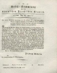 Gesetz-Sammlung für die Königlichen Preussischen Staaten, 15. Mai 1827, nr. 8.