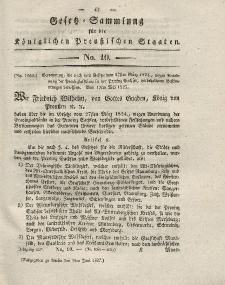 Gesetz-Sammlung für die Königlichen Preussischen Staaten, 9. Juni 1827, nr. 10.