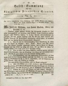 Gesetz-Sammlung für die Königlichen Preussischen Staaten, 12. April 1828, nr. 5.