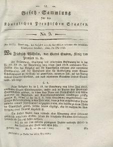 Gesetz-Sammlung für die Königlichen Preussischen Staaten, 24. Mai 1828, nr. 9.