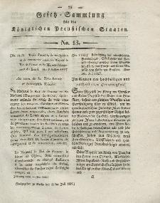Gesetz-Sammlung für die Königlichen Preussischen Staaten, 31. Juli 1828, nr. 13.