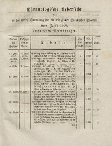 Gesetz-Sammlung für die Königlichen Preussischen Staaten (Chronologische Uebersicht), 1830