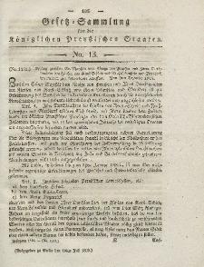 Gesetz-Sammlung für die Königlichen Preussischen Staaten, 10. Juli 1830, nr. 13.