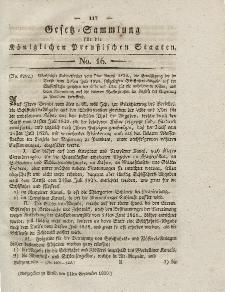 Gesetz-Sammlung für die Königlichen Preussischen Staaten, 11. September 1830, nr. 16.