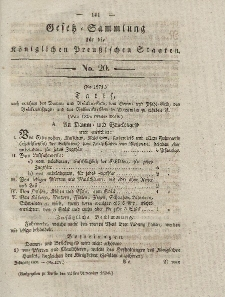 Gesetz-Sammlung für die Königlichen Preussischen Staaten, 24. November 1830, nr. 20.