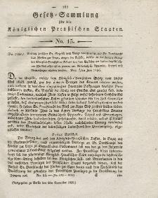 Gesetz-Sammlung für die Königlichen Preussischen Staaten, 9. November 1826, nr. 15.