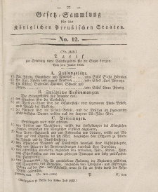 Gesetz-Sammlung für die Königlichen Preussischen Staaten, 26. Juli 1833, nr. 12.