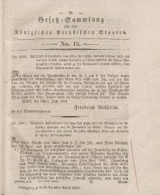 Gesetz-Sammlung für die Königlichen Preussischen Staaten, 15. August 1833, nr. 13.