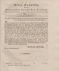 Gesetz-Sammlung für die Königlichen Preussischen Staaten, 16. Januar 1834, nr. 1.