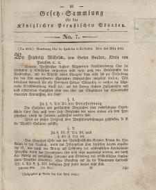 Gesetz-Sammlung für die Königlichen Preussischen Staaten, 3. April 1834, nr. 7.