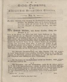 Gesetz-Sammlung für die Königlichen Preussischen Staaten, 12. April 1834, nr. 8.