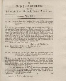 Gesetz-Sammlung für die Königlichen Preussischen Staaten, 28. Juni 1834, nr. 12.