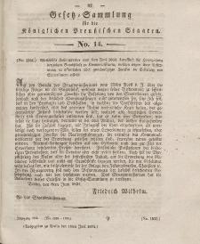 Gesetz-Sammlung für die Königlichen Preussischen Staaten, 18. Juni 1834, nr. 14.