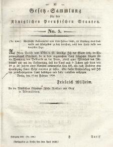 Gesetz-Sammlung für die Königlichen Preussischen Staaten, 3. April 1835, nr. 5.