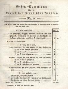 Gesetz-Sammlung für die Königlichen Preussischen Staaten, 18. Mai 1835, nr. 9.