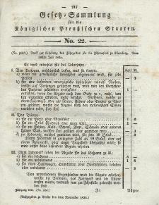 Gesetz-Sammlung für die Königlichen Preussischen Staaten, 3. November 1835, nr. 22.