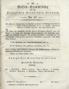 Gesetz-Sammlung für die Königlichen Preussischen Staaten, 12. Dezember 1835, nr. 27.