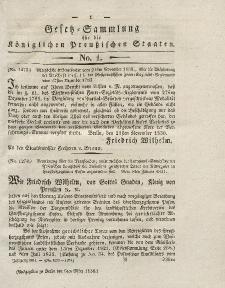 Gesetz-Sammlung für die Königlichen Preussischen Staaten, 5. März 1831, nr. 1.