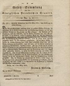 Gesetz-Sammlung für die Königlichen Preussischen Staaten, 7. April 1831, nr. 3.
