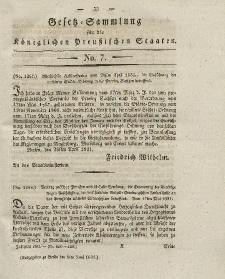Gesetz-Sammlung für die Königlichen Preussischen Staaten, 6. Juni 1831, nr. 7.