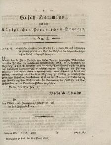 Gesetz-Sammlung für die Königlichen Preussischen Staaten, 2. Februar 1832, nr. 2.