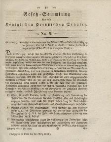 Gesetz-Sammlung für die Königlichen Preussischen Staaten, 2. März 1832, nr. 5.