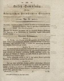 Gesetz-Sammlung für die Königlichen Preussischen Staaten, 9. April 1832, nr. 8.