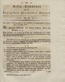 Gesetz-Sammlung für die Königlichen Preussischen Staaten, 14. April 1832, nr. 9.