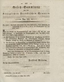 Gesetz-Sammlung für die Königlichen Preussischen Staaten, 25. Mai 1832, nr. 11.