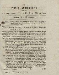 Gesetz-Sammlung für die Königlichen Preussischen Staaten, 23. Juli 1832, nr. 15.