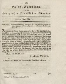 Gesetz-Sammlung für die Königlichen Preussischen Staaten, 3. August 1832, nr. 16.