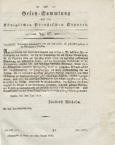 Gesetz-Sammlung für die Königlichen Preussischen Staaten, 21. August 1832, nr. 17.