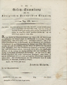 Gesetz-Sammlung für die Königlichen Preussischen Staaten, 30. August 1832, nr. 18.