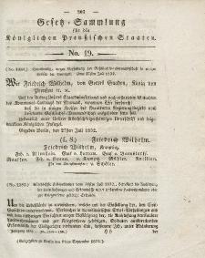 Gesetz-Sammlung für die Königlichen Preussischen Staaten, 11. August 1832, nr. 19.