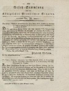 Gesetz-Sammlung für die Königlichen Preussischen Staaten, 22. November 1832, nr. 21.