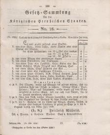 Gesetz-Sammlung für die Königlichen Preussischen Staaten, 3. Oktober 1836, nr. 16.