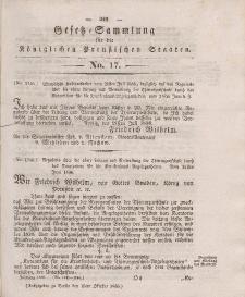 Gesetz-Sammlung für die Königlichen Preussischen Staaten, 15. Oktober 1836, nr. 17.