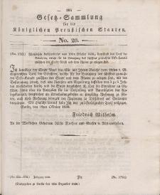 Gesetz-Sammlung für die Königlichen Preussischen Staaten, 1. Dezember 1836, nr. 20.