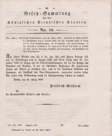 Gesetz-Sammlung für die Königlichen Preussischen Staaten, 29. April 1837, nr. 10.