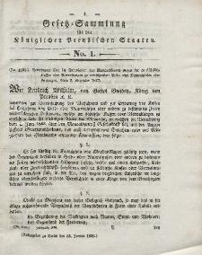 Gesetz-Sammlung für die Königlichen Preussischen Staaten, 13. Januar 1838, nr. 1.