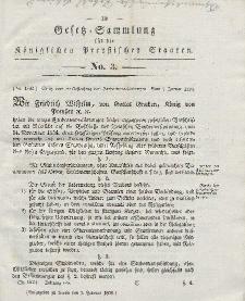 Gesetz-Sammlung für die Königlichen Preussischen Staaten, 1. Februar 1838, nr. 3.